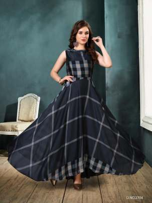 NAVY BLUE SEEJIGEORGETTE CHECKS PRINT
