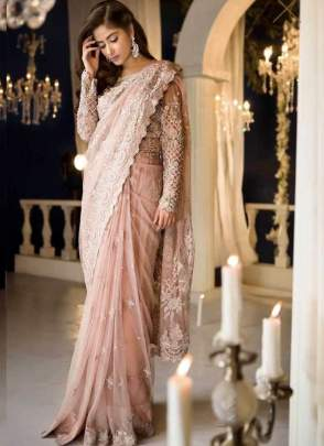 Mesmerising Peach Color Party Wear Designer Net Base