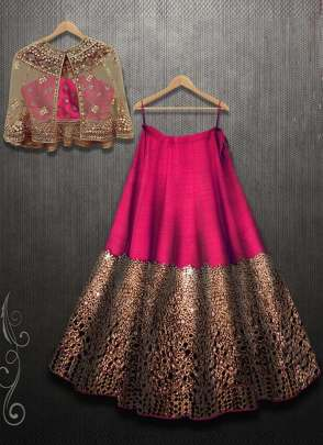Exotic Pink Color Mirror Work Designer Party Wear