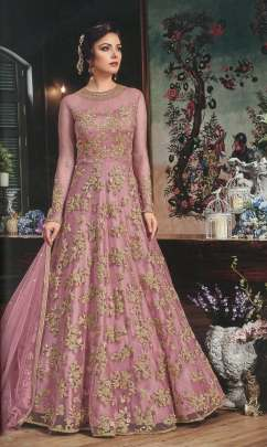 PINK HEAVY EMBROIDERED DESIGNER GOWN TYPE