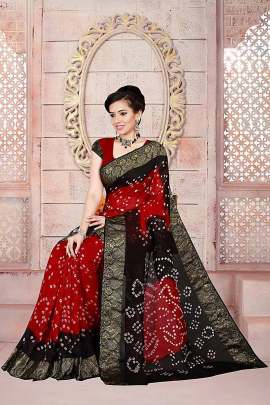 ROSE RED-BLACK ART SILK BANDHNI