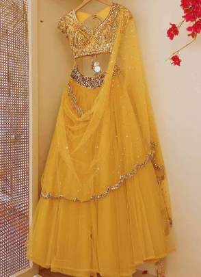 Extravagent Mustard Yellow Soft Net Base Flared For Your Haldi Function